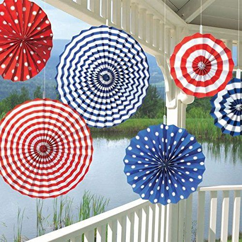 July 4th Patriotic Paper Fan Garland