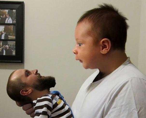 люди решили поменяться лицами с детьми, замена лиц на детские