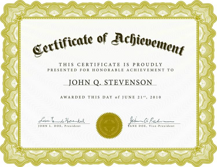Free Certification Templates of achievement printable gift – Free Certificate Template for Word