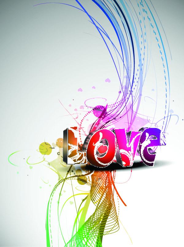 Download Cool threedimensional love wordart (3783) Free EPS ...