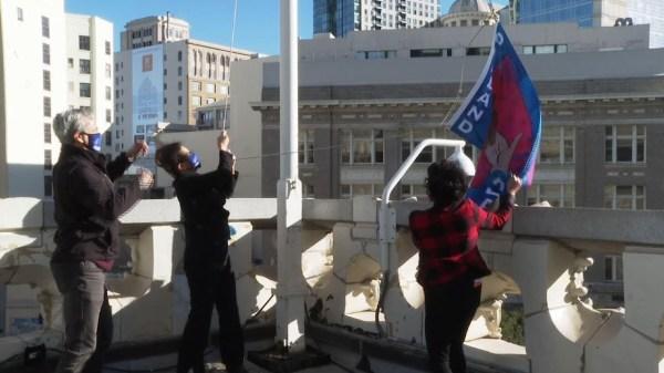 Oakland-Scranton flag honors Harris, Biden