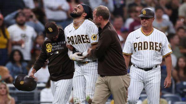 San Diego Padres' Fernando Tatis exits game after hurting left shoulder again