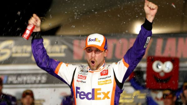 Denny Hamlin tops Chase Elliott to win NASCAR Cup Series playoff round, and 'it feels so good'
