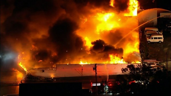 Massive fire in New Jersey auto auction building