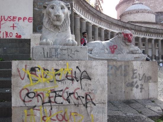 Naples monuments covered in graffiti