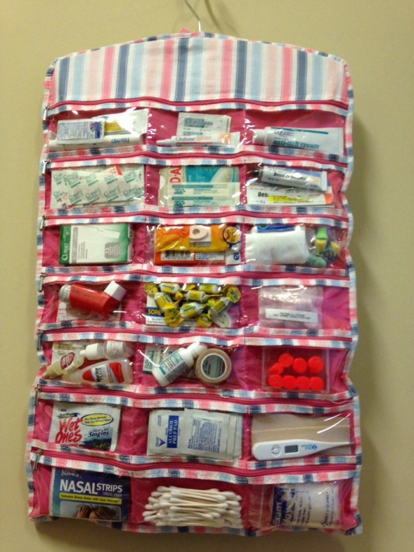 First aid kit made from hanging jewelry organizer