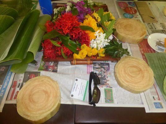 Krathong-making supplies