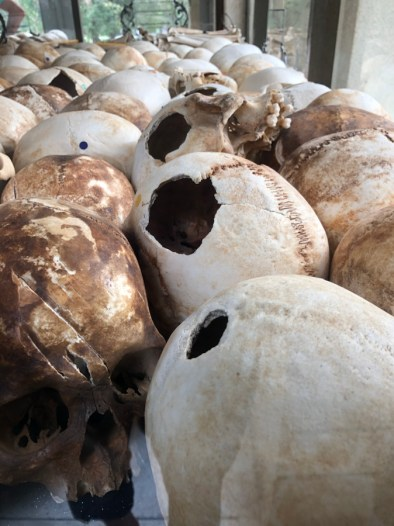 Skulls of victims killed by strikes to the head with hoes, shovels, etc.