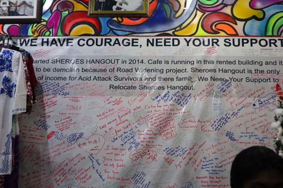 Banner of encouragement hanging inside cafe