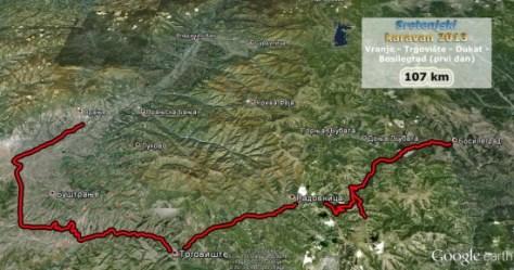 Trasa prvog dana karavana, od Vranja, preko Trgovišta i Dukat planine do Bosilegrada