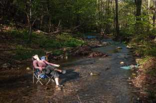 Relaxing with feet in the cold river