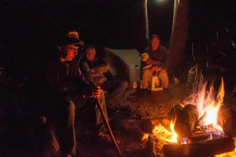 Sitting by the fire on the second night