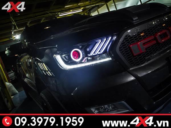 Độ đèn Ford Ranger: Cụm đèn trước kiểu Ford Mustang đẹp và sang độ xe bán tải