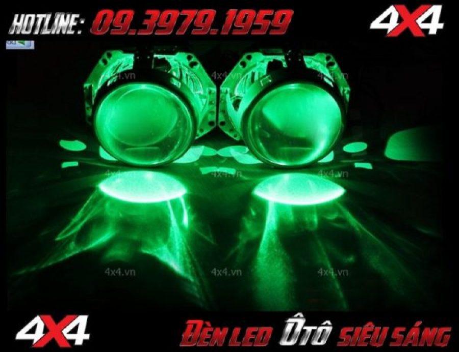 Đèn bi xenon, đèn mắt quỷ màu xanh lá cây đẹp và bắt mắt dành cho xe ô tô và xe bán tải