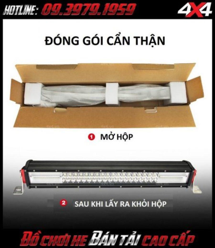 Đèn led bar 8D - Đèn nóc xe bán tải sau khi được mở khỏi hộp