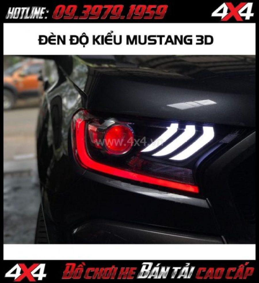 Image: Combo Đèn mắt quỷ, mí led, vòng Angel eyes mẫu Ford Mustang 3D độ đẹp và ngầu cho xe pick up Ford Ranger tại HCM
