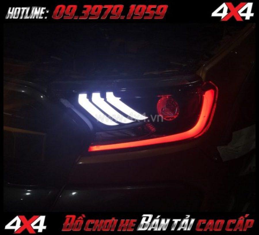 Image Combo Đèn mắt quỷ, mí led, vòng Angel eyes mẫu Ford Mustang 3D độ đẹp và ngầu cho xe bán tải Ford Ranger 2019 tại TpHCM