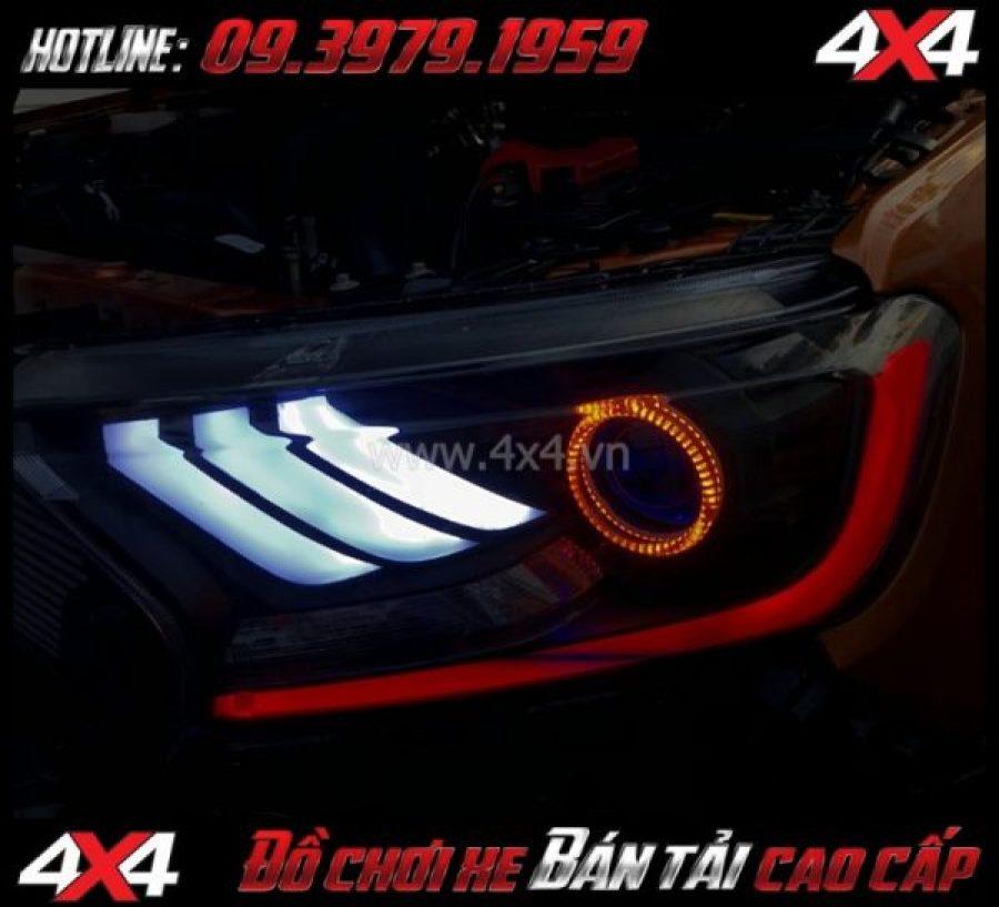 Tấm ảnh: Combo Đèn mắt quỷ, mí led, vòng Angel eyes mẫu Ford Mustang 3D độ đẹp và đẹp cho xe off road Ford Ranger 2018 2019 tại Tp.HCM