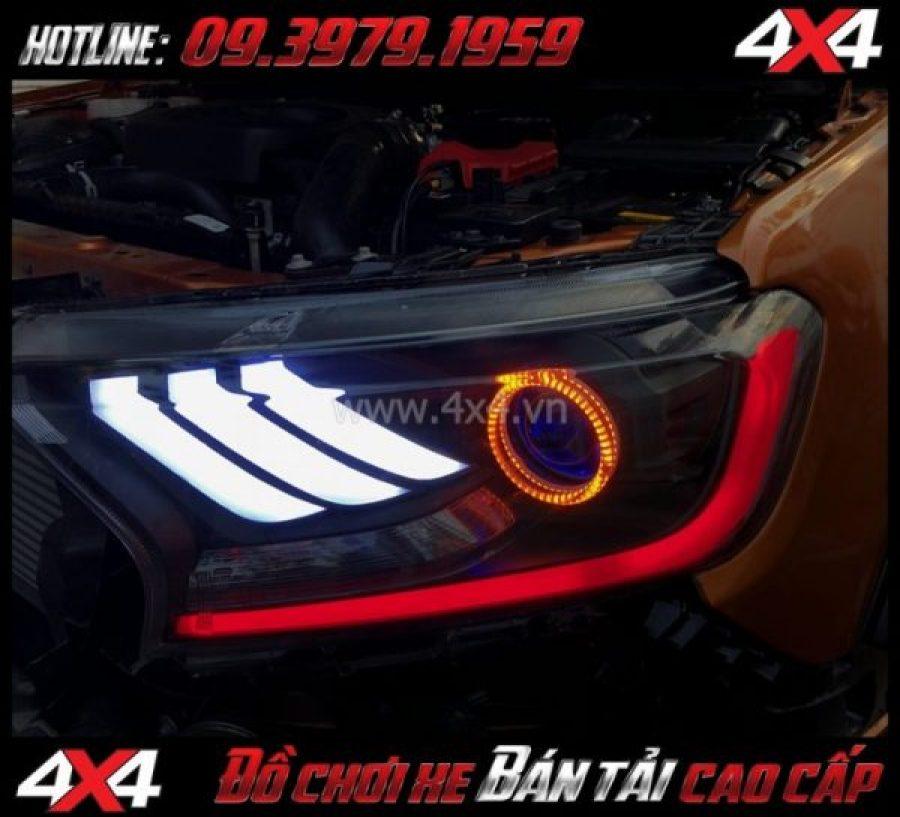 Picture: Combo Đèn mắt quỷ, mí led, vòng Angel eyes mẫu Ford Mustang 3D gắn đẹp và đẹp mắt cho xe pickup Ford Ranger 2019 2018 tại Sài Gòn