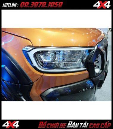 Photo Ốp đèn trước có đèn led Fitt dành cho xe bán tải Ford Ranger 2018