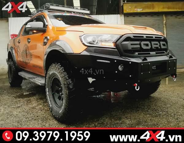 Mặt calang Ford Ranger: Chiếc Ford Ranger cực hầm hố với mặt calang kiểu Ranger Raptor và cản trước KSC