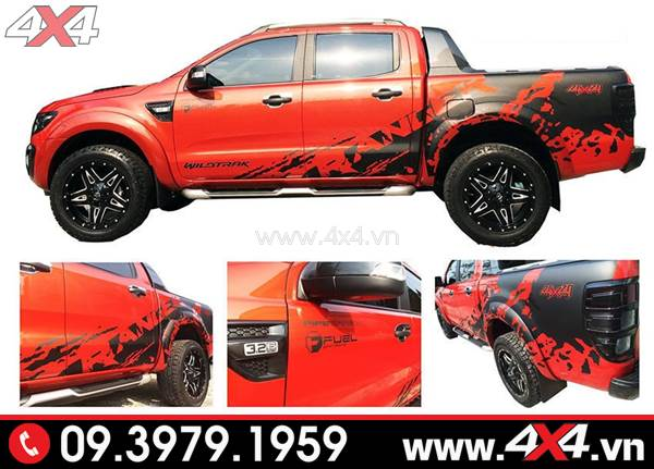 Đồ chơi xe Ford Ranger: Mẫu tem dán màu đen độ đẹp cho xe Ford Ranger màu đỏ