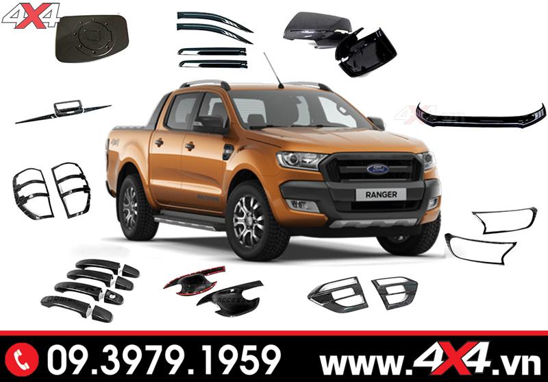 Ốp trang trí độ nhẹ nhàng cho xe bán tải Ford Ranger Wildtrak, XLS, XLT, Raptor 2019 2020