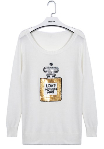 Sequins Perfume Sweater - White
