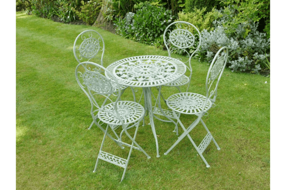 antique pale green metal patio set table 4 chairs