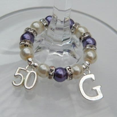 50th Birthday Wine Glass Charm Initial Full Sparkle Style