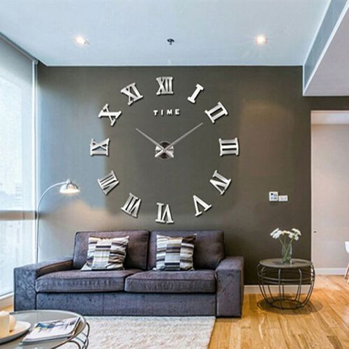 Black Silver 3d Frameless Large Diy Wall Clock Size 2 3 5 Fits Rs 2395 Piece Id 17598780988
