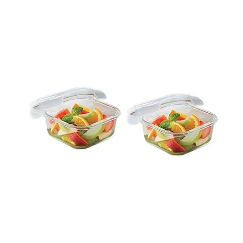 borosil microwavable klip n store square dish with lid set of 2 320 ml
