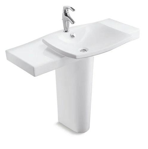 kohler escale pedestal lavatory with single faucet hole bathroom sink