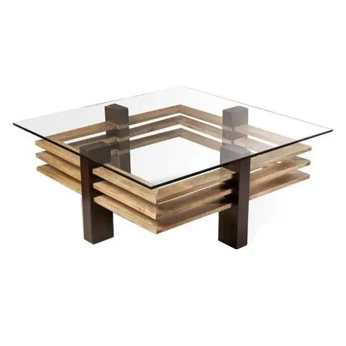 glass top wooden center table