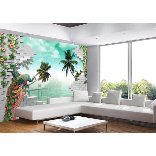 Green Living Room 3D Wallpaper Rs 100 Square Feet