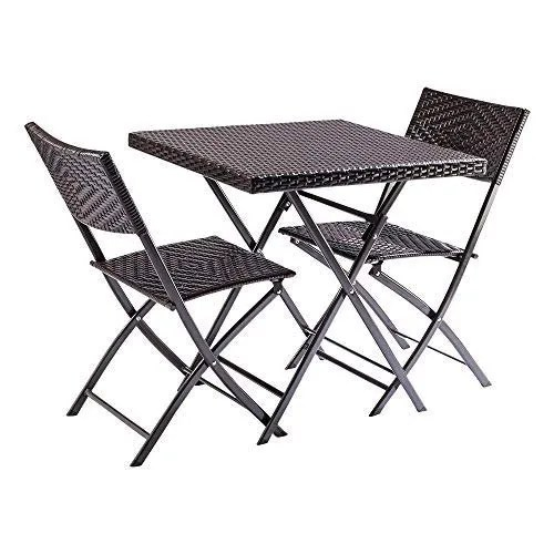 outdoor cafeteria table and folding chairs set patio furniture set