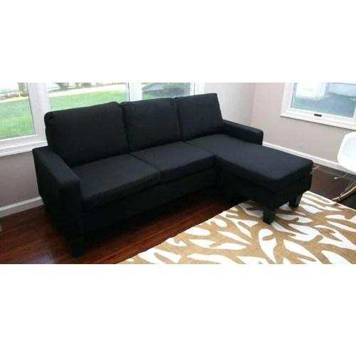 rich black cloth contemporary sectional sofa