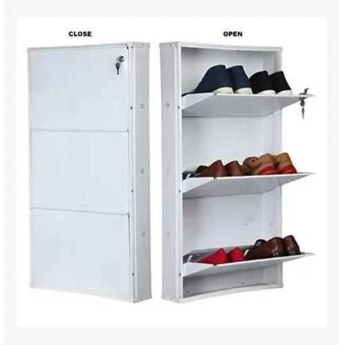 ivory powder coated jumbo 3 door steel shoe rack