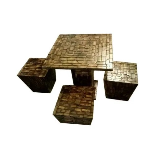 designer wooden log table with stool