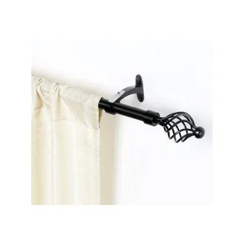 black matt swirl iron curtain rod