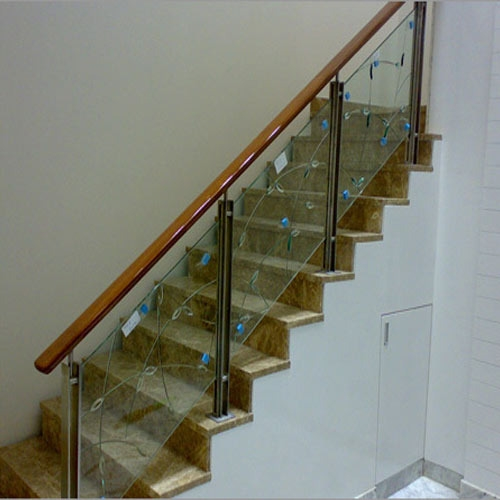 Steel Stair Glass Railing At Rs 390 Square Feet   Stairs Railing Designs In Steel And Glass