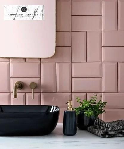 pink porcelain ceramic subway tiles
