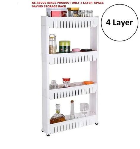 4 layer storage organizer slim rack shelf with wheels