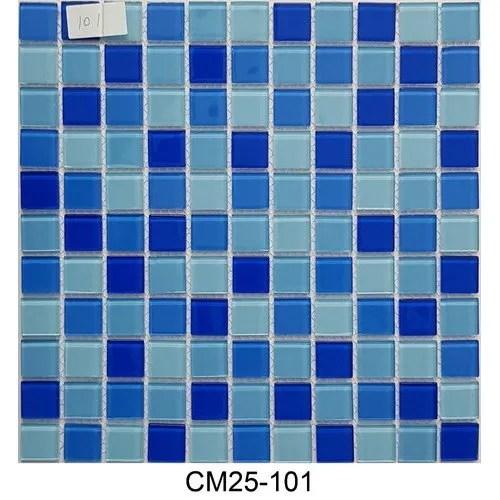 aqua blue crystal glass mosaic tile