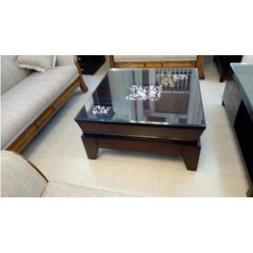 rectangular glass top wooden center table