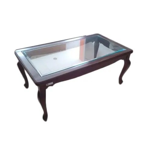 glass top wooden centre table