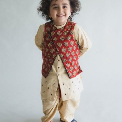 Georgette Peach Red Baby Boy Kurta Dhoti With Jacket Rs 3500 Bag Id 22138514530