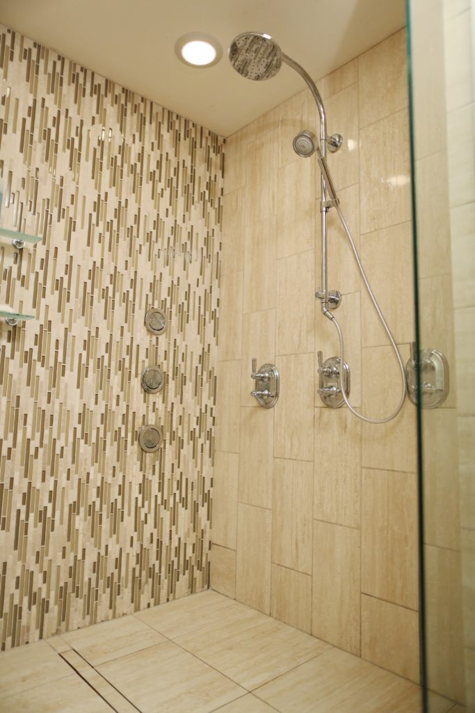 Linear drain tile shower installation