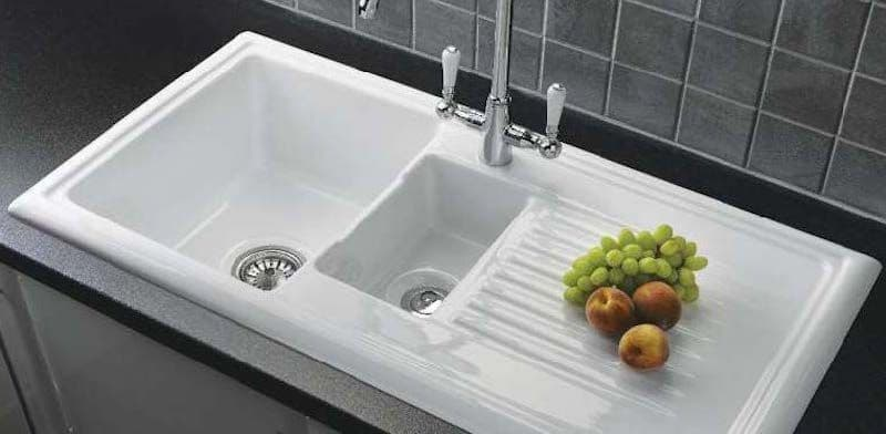 river range dovey ceramic white sink one and a half bowl with mixer tap 1015 x 525mm