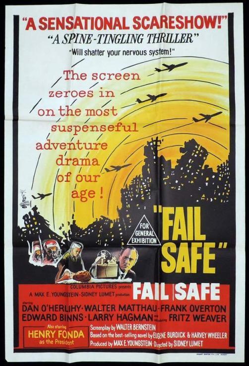 """Zeskanowany i nieco pogięty plakat filmu """"Fail-Safe"""" aka """"Czerwona Linia"""" z 1964 roku."""